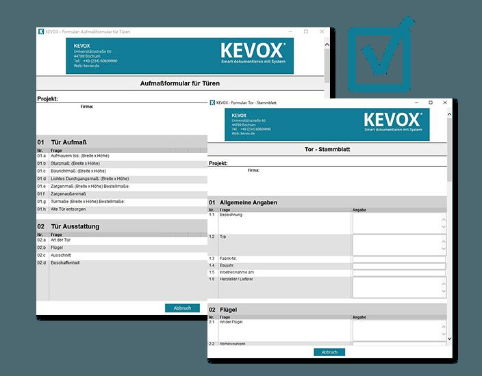 Aufmaßformular für Türen - Einbau-Formulare KEVOX
