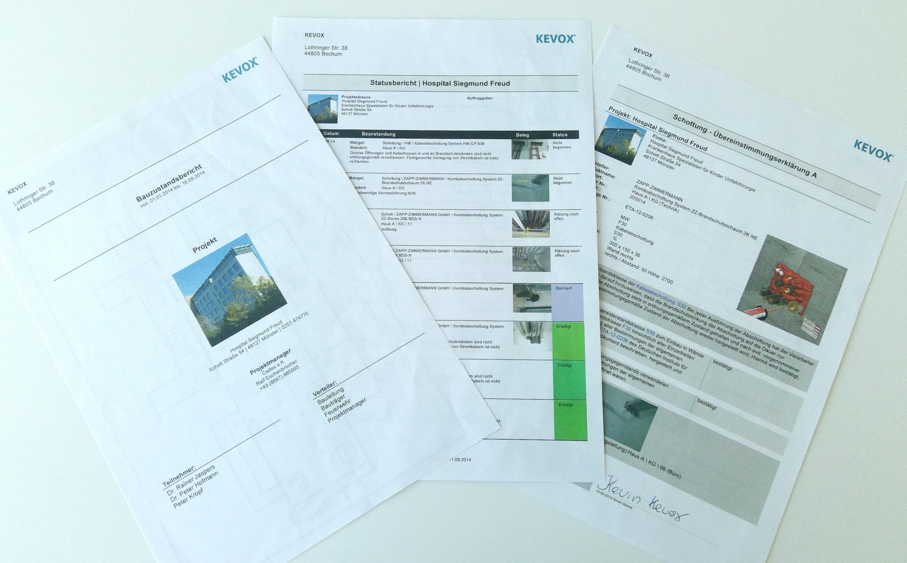 Schott-Bericht-übereinstimmungserklärung mit kevox automatisch erstellen