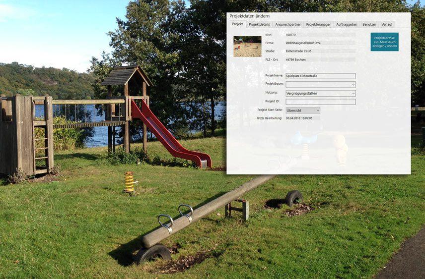 Spielplatz Prüfen mit KEVOX Projekt-anlegen