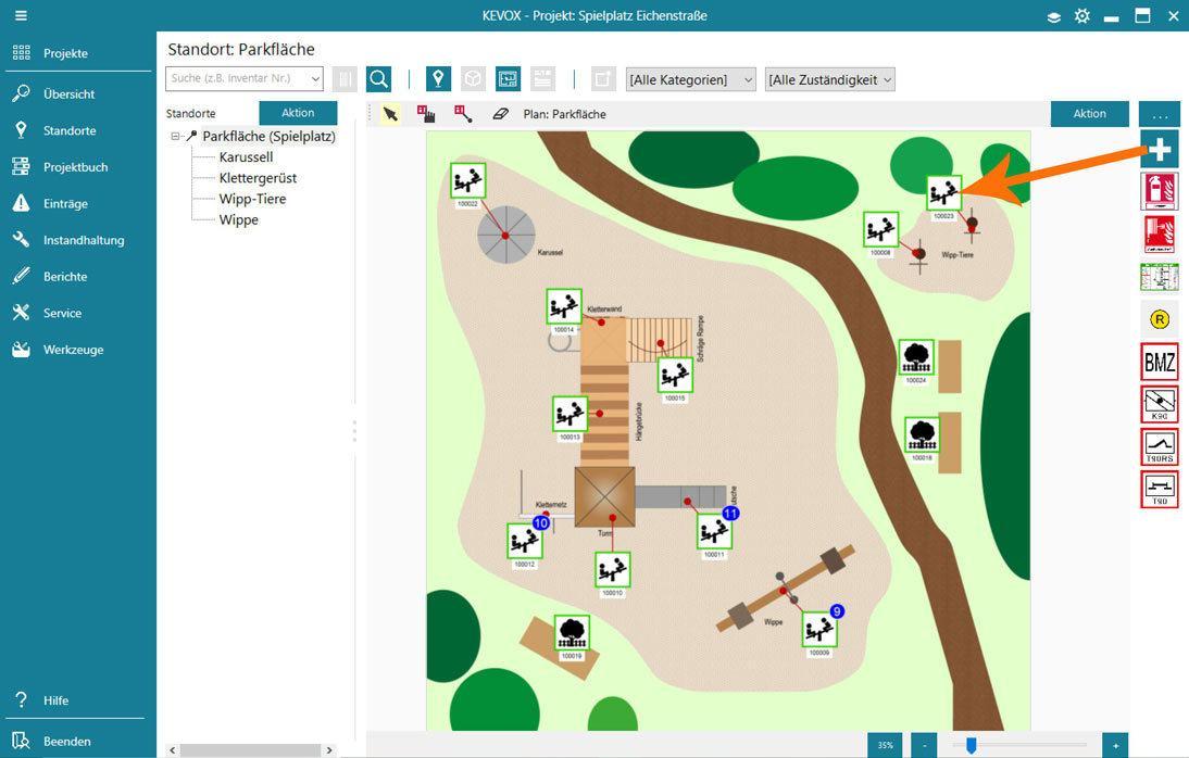 Spielplatz prüfen mit KEOVX Software und App - Lageplan