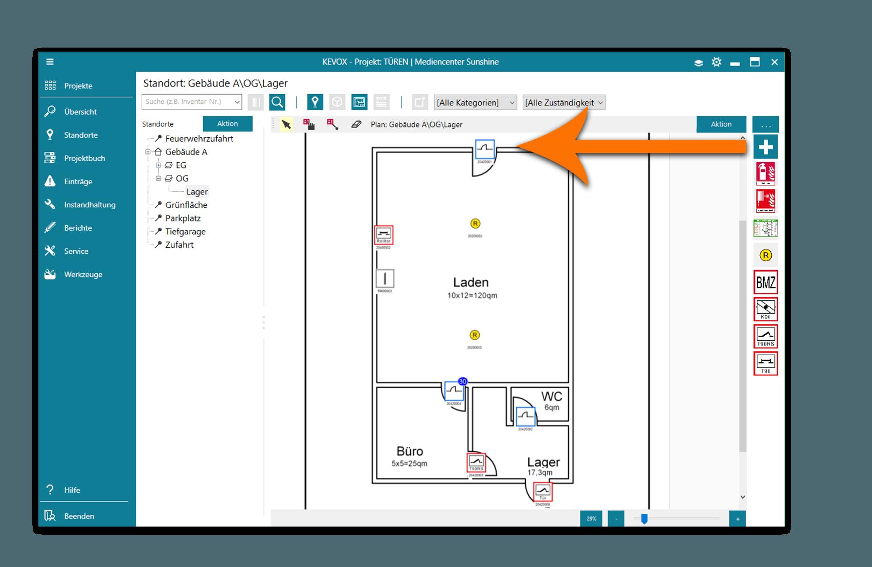 Türen und Tore mit Software und App Dokumentieren - standortplan