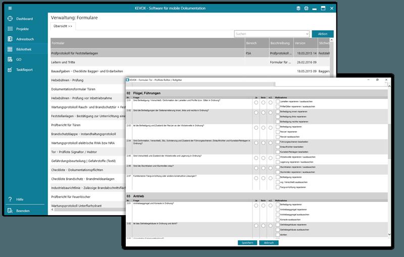 checklisten und digitale formulare in kevox